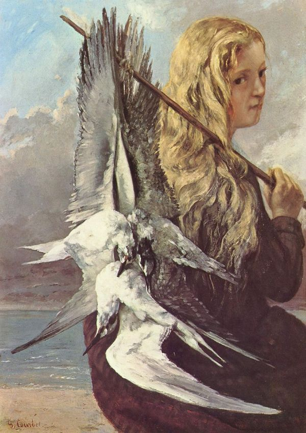 Courbet, Gustave: Girl with Seagulls. Fine Art Print/Poster. Sizes: A4/A3/A2/A1 (001043)